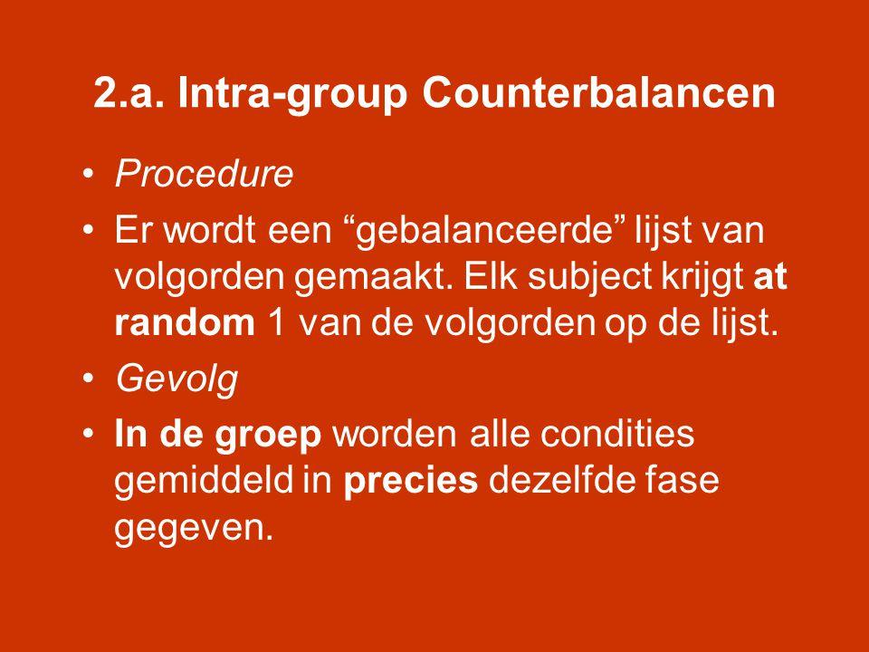 """2.a. Intra-group Counterbalancen •Procedure •Er wordt een """"gebalanceerde"""" lijst van volgorden gemaakt. Elk subject krijgt at random 1 van de volgorden"""