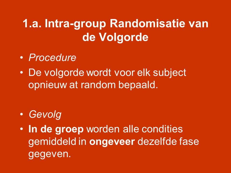 1.a. Intra-group Randomisatie van de Volgorde •Procedure •De volgorde wordt voor elk subject opnieuw at random bepaald. •Gevolg •In de groep worden al