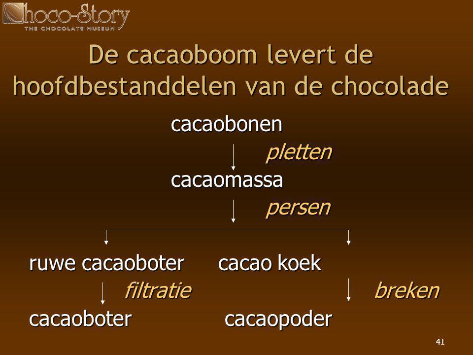 41 De cacaoboom levert de hoofdbestanddelen van de chocolade cacaobonen pletten cacaomassa persen ruwe cacaobotercacao koek filtratie breken cacaobote
