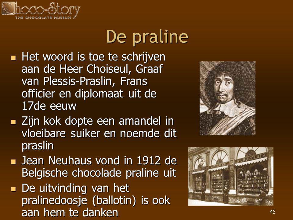 45 De praline  Het woord is toe te schrijven aan de Heer Choiseul, Graaf van Plessis-Praslin, Frans officier en diplomaat uit de 17de eeuw  Zijn kok