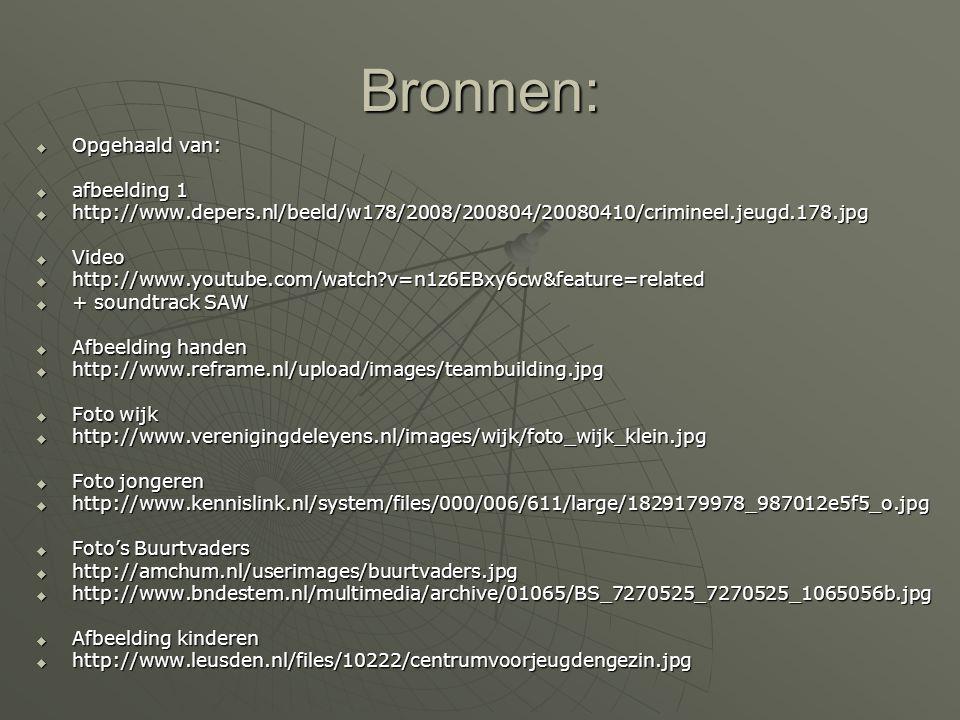 Bronnen:  Opgehaald van:  afbeelding 1  http://www.depers.nl/beeld/w178/2008/200804/20080410/crimineel.jeugd.178.jpg  Video  http://www.youtube.c