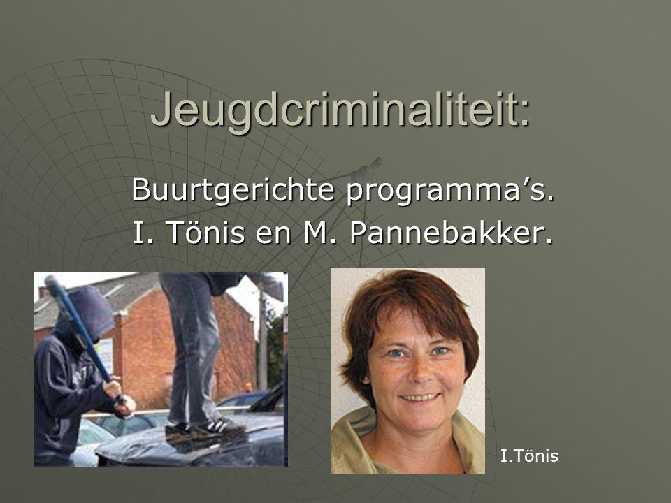 Jeugdcriminaliteit: Buurtgerichte programma's. I. Tönis en M. Pannebakker. I.Tönis