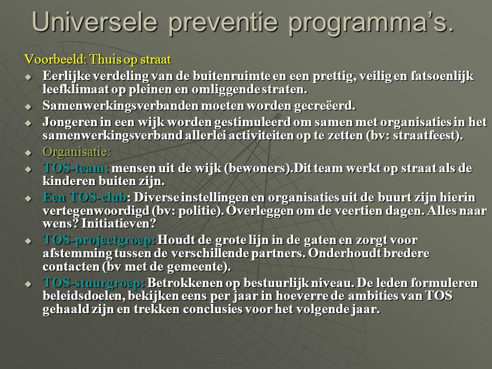 Universele preventie programma's. Voorbeeld: Thuis op straat  Eerlijke verdeling van de buitenruimte en een prettig, veilig en fatsoenlijk leefklimaa