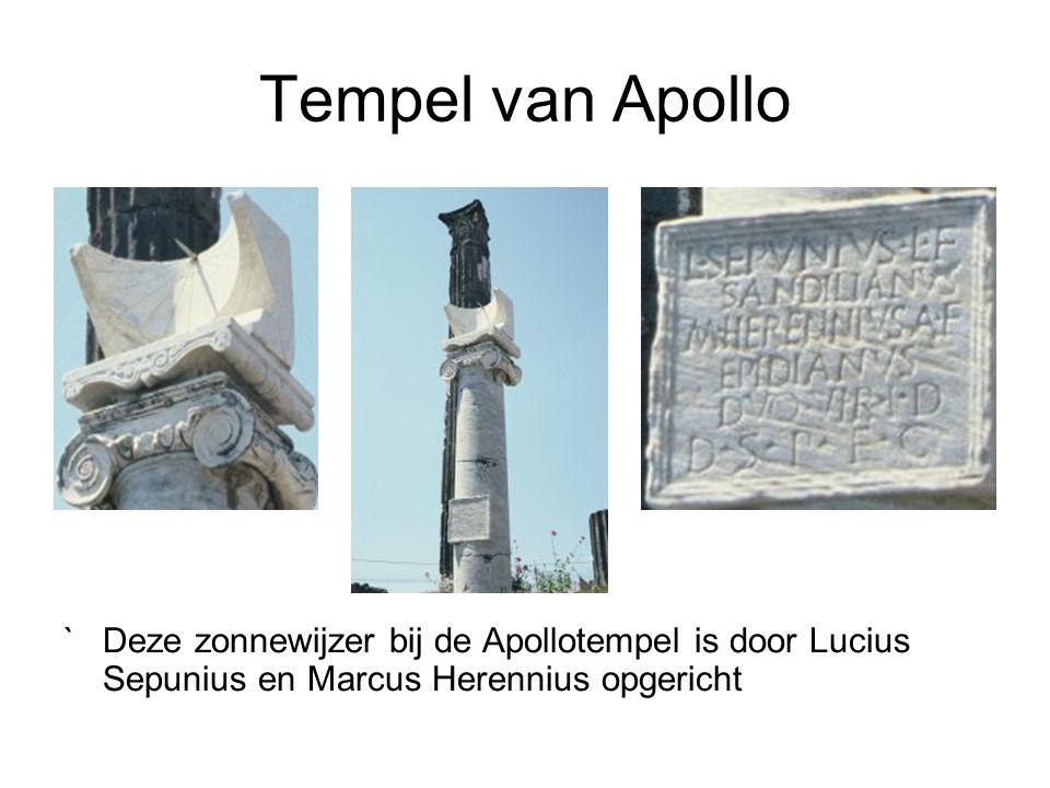 Tempel van Apollo `Deze zonnewijzer bij de Apollotempel is door Lucius Sepunius en Marcus Herennius opgericht