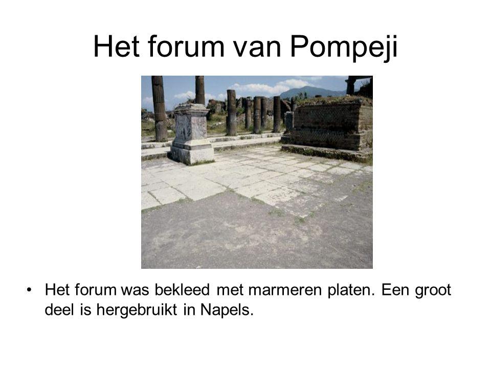 Het forum van Pompeji •Het forum was bekleed met marmeren platen. Een groot deel is hergebruikt in Napels.