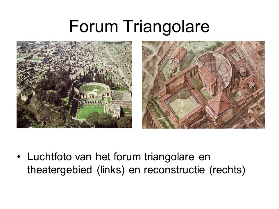 Forum Triangolare •Luchtfoto van het forum triangolare en theatergebied (links) en reconstructie (rechts)