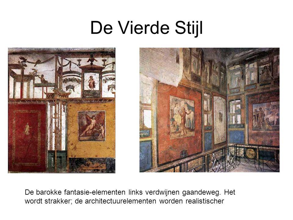 De Vierde Stijl De barokke fantasie-elementen links verdwijnen gaandeweg. Het wordt strakker; de architectuurelementen worden realistischer