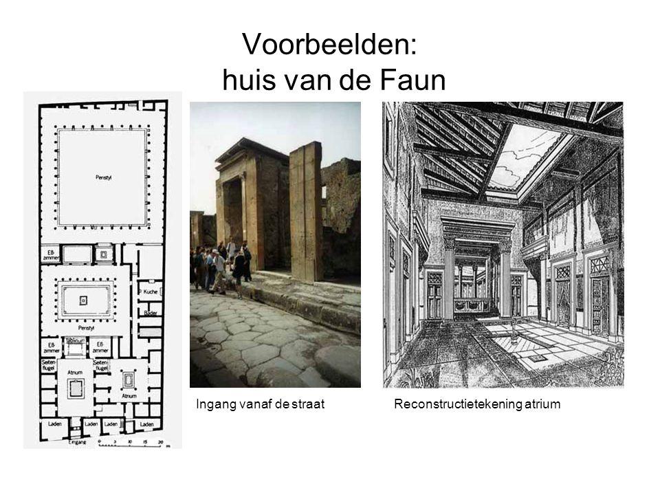 Voorbeelden: huis van de Faun Ingang vanaf de straatReconstructietekening atrium