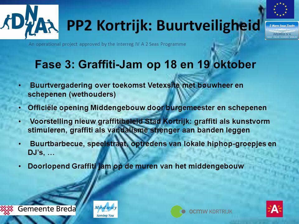 An operational project approved by the Interreg IV A 2 Seas Programme PP2 Kortrijk: Buurtveiligheid Fase 3: Graffiti-Jam op 18 en 19 oktober • Buurtve