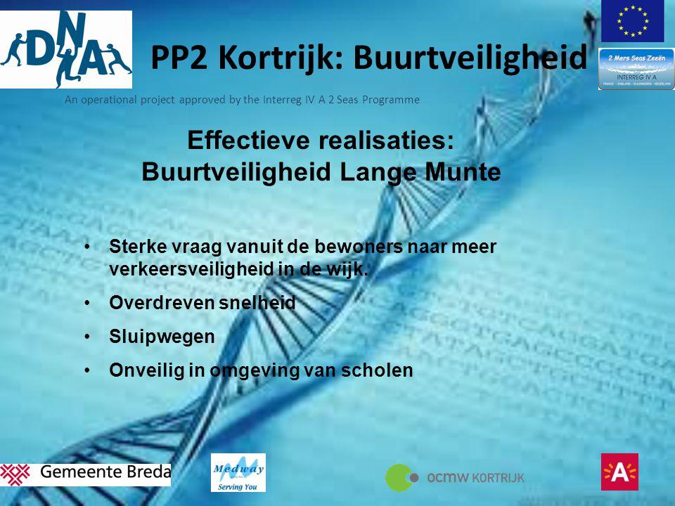 PP2 Kortrijk: Buurtveiligheid Effectieve realisaties: Buurtveiligheid Lange Munte •Sterke vraag vanuit de bewoners naar meer verkeersveiligheid in de wijk.