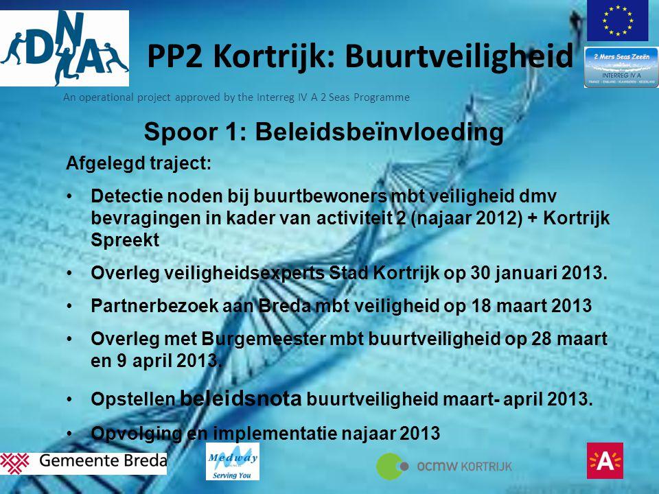 An operational project approved by the Interreg IV A 2 Seas Programme Spoor 1: Beleidsbeïnvloeding Afgelegd traject: •Detectie noden bij buurtbewoners mbt veiligheid dmv bevragingen in kader van activiteit 2 (najaar 2012) + Kortrijk Spreekt •Overleg veiligheidsexperts Stad Kortrijk op 30 januari 2013.
