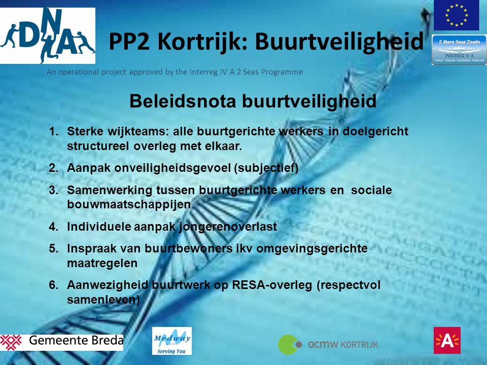 An operational project approved by the Interreg IV A 2 Seas Programme PP2 Kortrijk: Buurtveiligheid Beleidsnota buurtveiligheid 1.Sterke wijkteams: alle buurtgerichte werkers in doelgericht structureel overleg met elkaar.