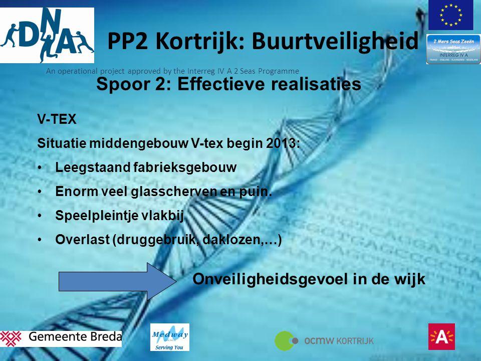 An operational project approved by the Interreg IV A 2 Seas Programme PP2 Kortrijk: Buurtveiligheid Spoor 2: Effectieve realisaties V-TEX Situatie middengebouw V-tex begin 2013: •Leegstaand fabrieksgebouw •Enorm veel glasscherven en puin.
