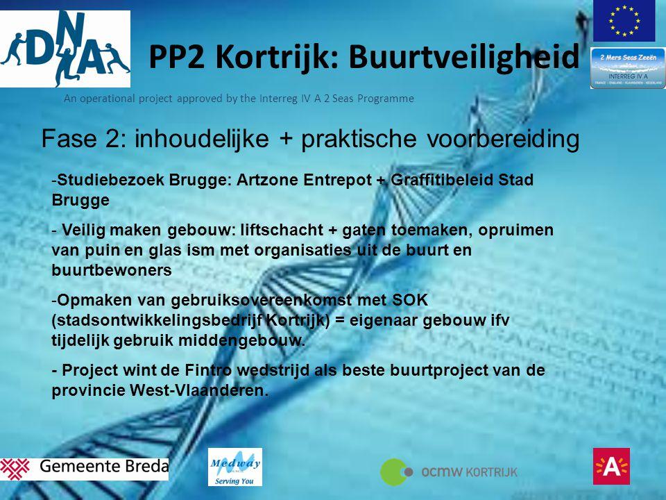 An operational project approved by the Interreg IV A 2 Seas Programme PP2 Kortrijk: Buurtveiligheid Fase 2: inhoudelijke + praktische voorbereiding -S