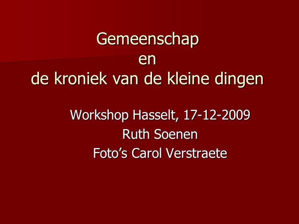 Gemeenschap en de kroniek van de kleine dingen Workshop Hasselt, 17-12-2009 Ruth Soenen Foto's Carol Verstraete