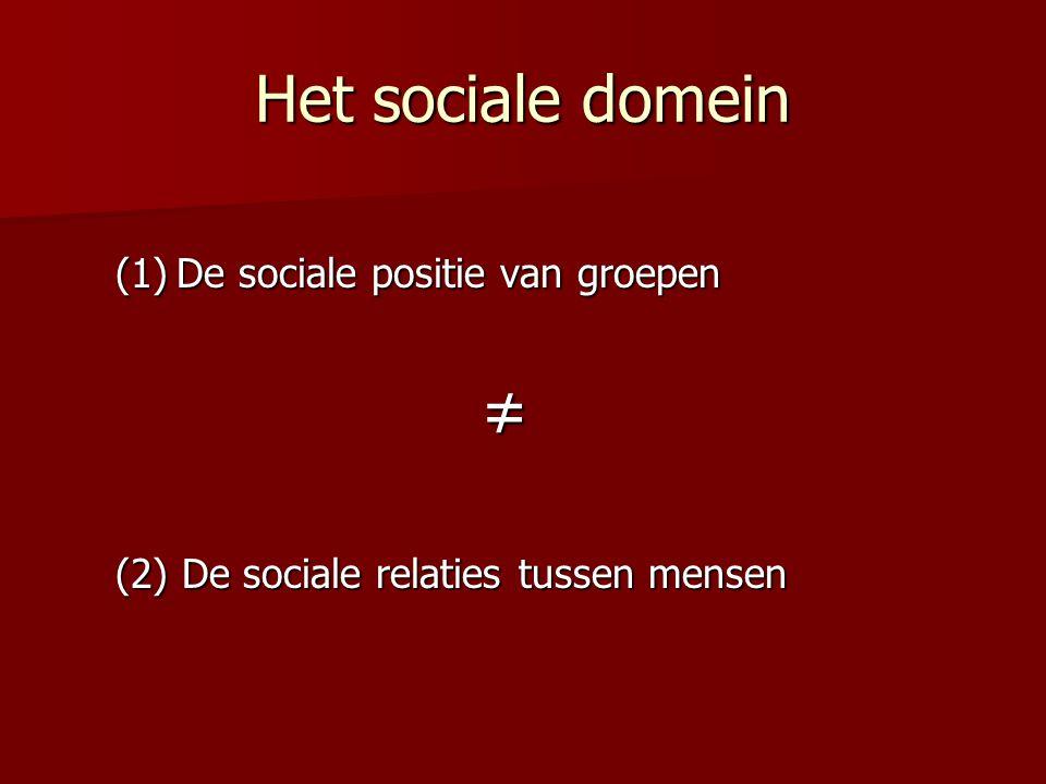 Het sociale domein (1)De sociale positie van groepen ≠ (2) De sociale relaties tussen mensen
