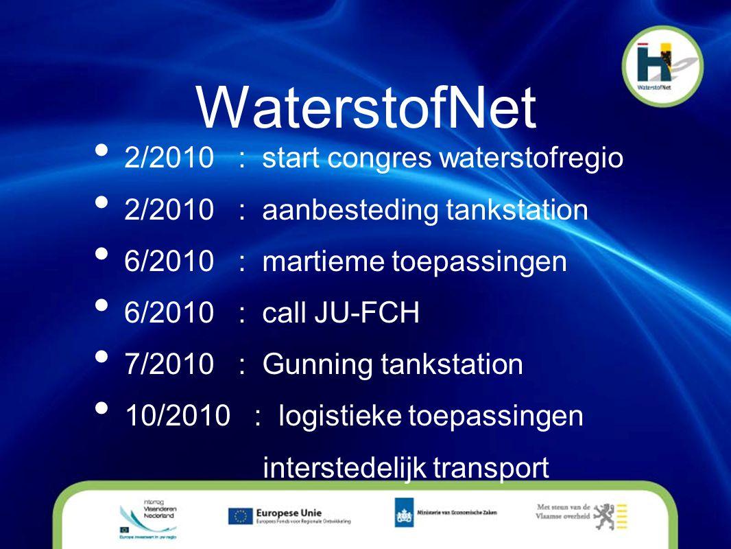 WaterstofNet • 2/2010 : start congres waterstofregio • 2/2010 : aanbesteding tankstation • 6/2010 : martieme toepassingen • 6/2010 : call JU-FCH • 7/2