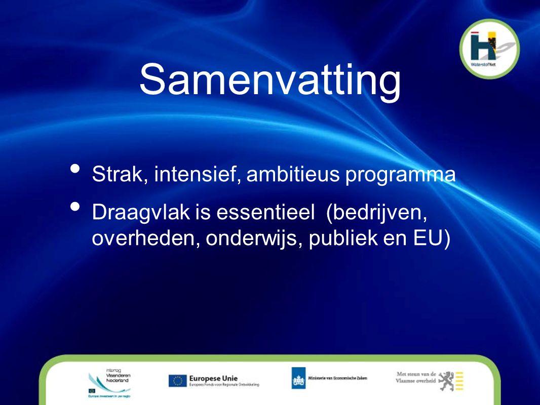 Samenvatting • Strak, intensief, ambitieus programma • Draagvlak is essentieel (bedrijven, overheden, onderwijs, publiek en EU)