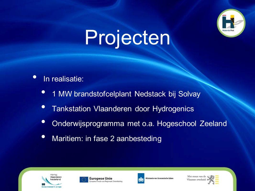 Projecten • In realisatie: • 1 MW brandstofcelplant Nedstack bij Solvay • Tankstation Vlaanderen door Hydrogenics • Onderwijsprogramma met o.a. Hogesc