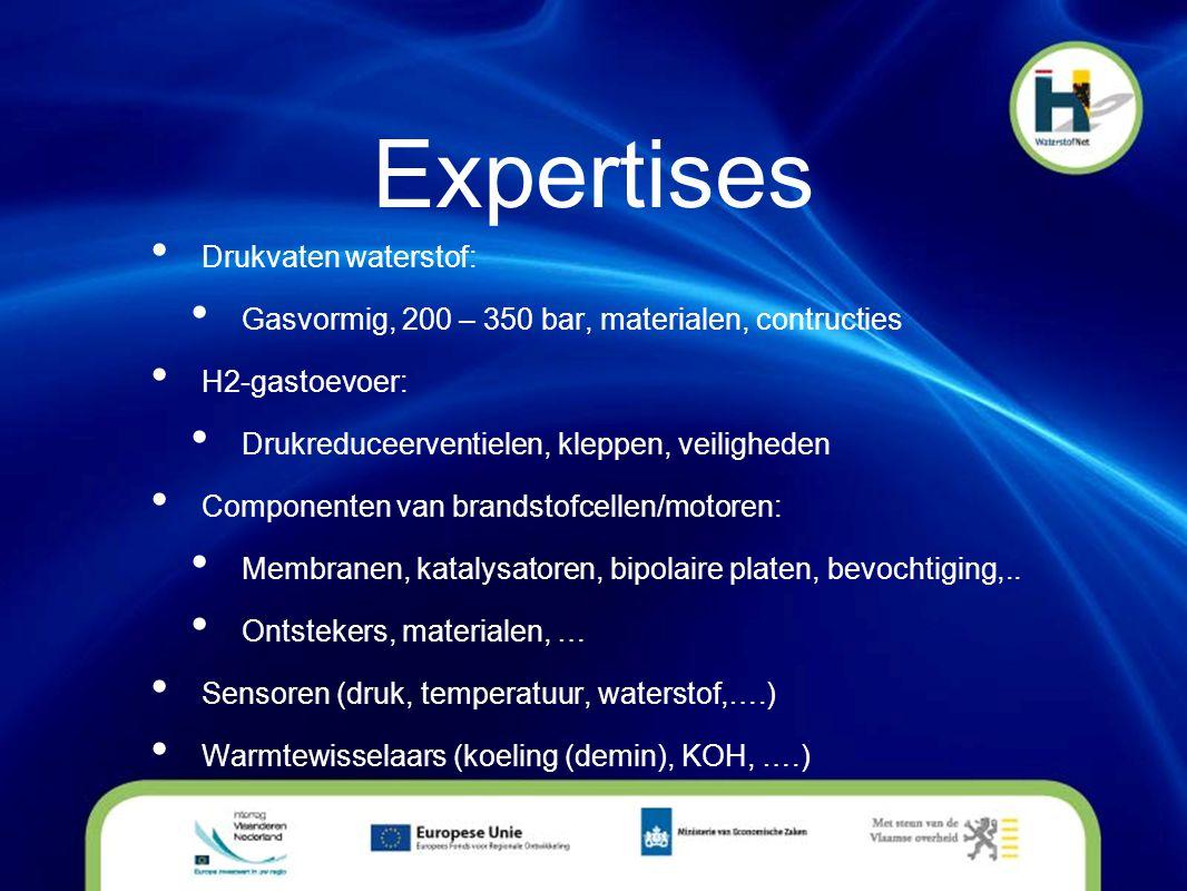 Expertises • Drukvaten waterstof: • Gasvormig, 200 – 350 bar, materialen, contructies • H2-gastoevoer: • Drukreduceerventielen, kleppen, veiligheden •