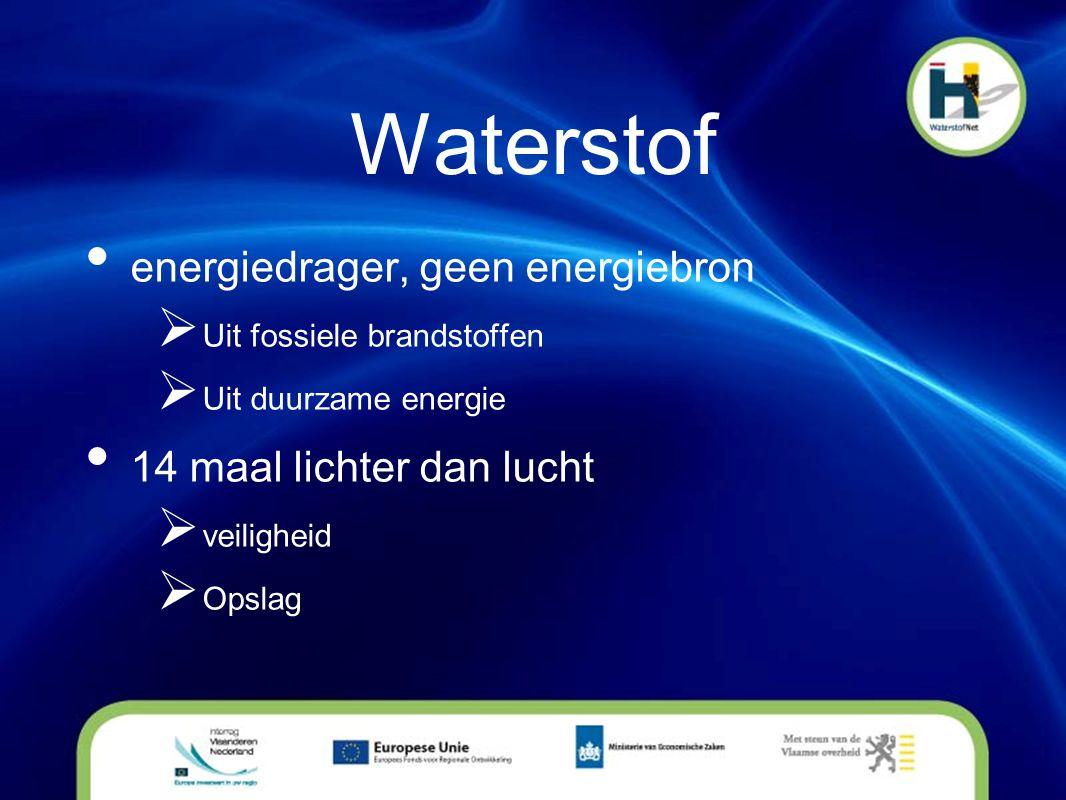 Waterstof • energiedrager, geen energiebron  Uit fossiele brandstoffen  Uit duurzame energie • 14 maal lichter dan lucht  veiligheid  Opslag