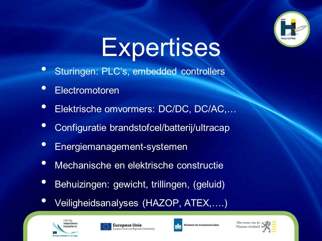Expertises • Sturingen: PLC's, embedded controllers • Electromotoren • Elektrische omvormers: DC/DC, DC/AC,… • Configuratie brandstofcel/batterij/ultr