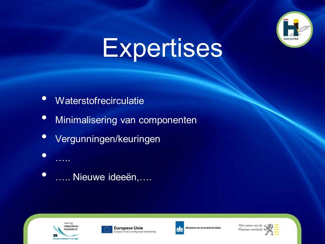 Expertises • Waterstofrecirculatie • Minimalisering van componenten • Vergunningen/keuringen • ….. • ….. Nieuwe ideeën,….