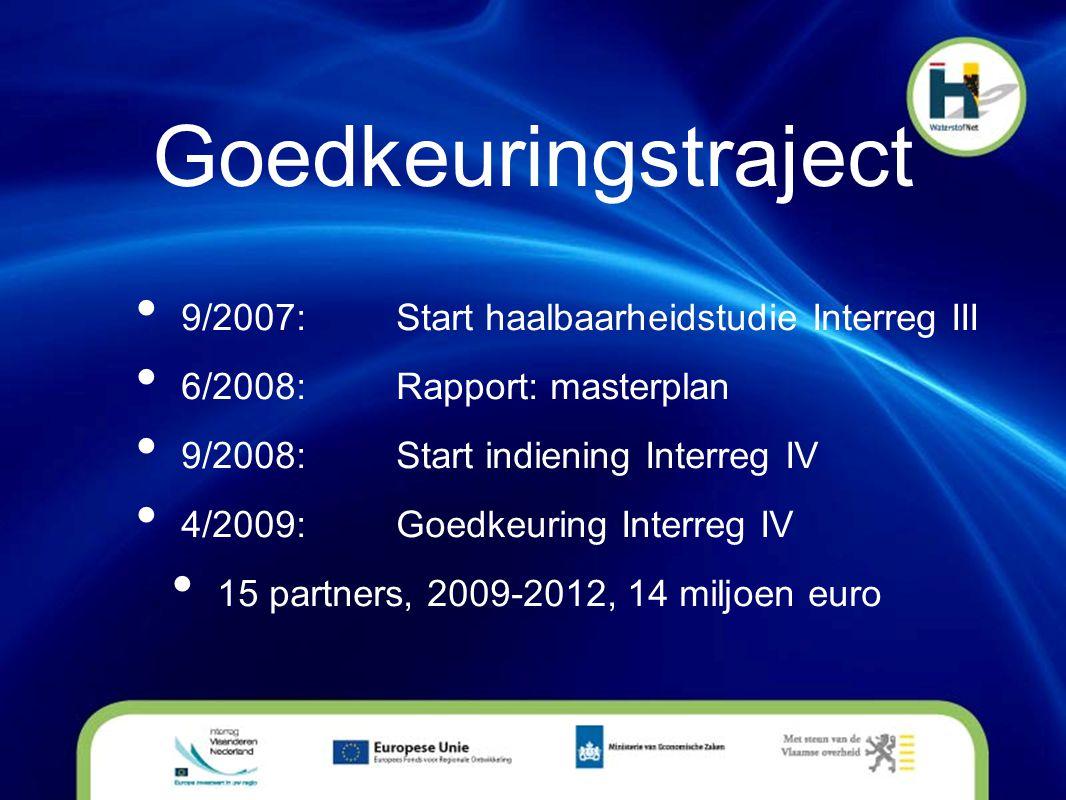 Goedkeuringstraject • 9/2007:Start haalbaarheidstudie Interreg III • 6/2008:Rapport: masterplan • 9/2008:Start indiening Interreg IV • 4/2009:Goedkeur