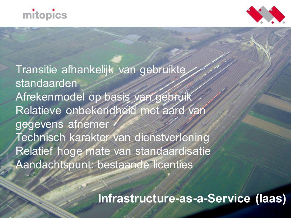 Infrastructure-as-a-Service (Iaas) Transitie afhankelijk van gebruikte standaarden Afrekenmodel op basis van gebruik Relatieve onbekendheid met aard v