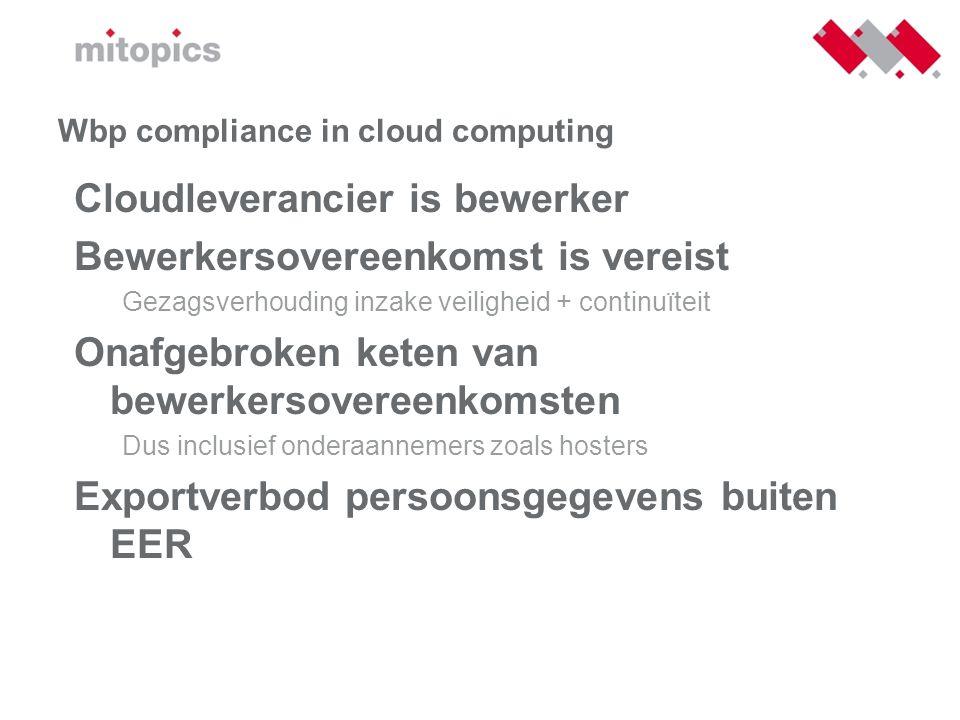 Wbp compliance in cloud computing Cloudleverancier is bewerker Bewerkersovereenkomst is vereist Gezagsverhouding inzake veiligheid + continuïteit Onaf