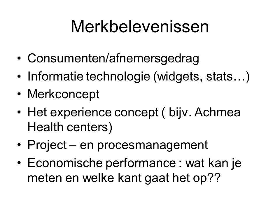 Merkbelevenissen •Consumenten/afnemersgedrag •Informatie technologie (widgets, stats…) •Merkconcept •Het experience concept ( bijv. Achmea Health cent