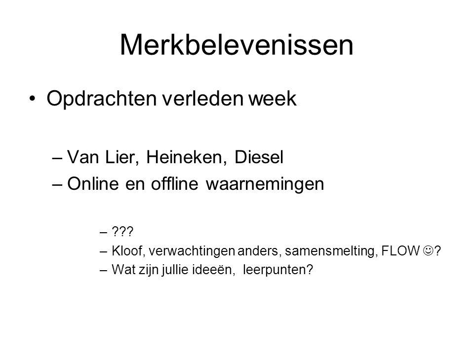 Merkbelevenissen •Opdrachten verleden week –Van Lier, Heineken, Diesel –Online en offline waarnemingen –??? –Kloof, verwachtingen anders, samensmeltin