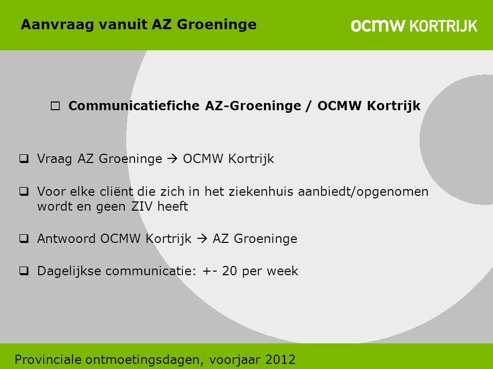 Aanvraag vanuit AZ Groeninge  Communicatiefiche AZ-Groeninge / OCMW Kortrijk  Vraag AZ Groeninge  OCMW Kortrijk  Voor elke cliënt die zich in het