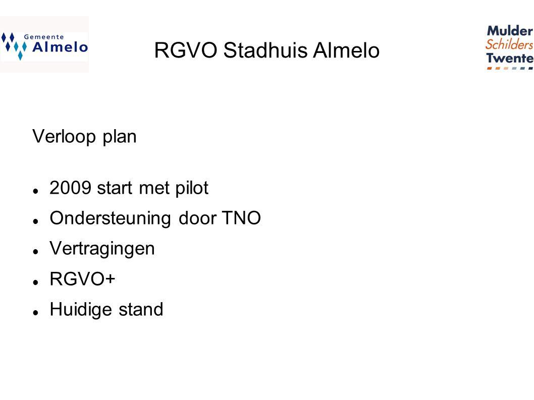 RGVO Stadhuis Almelo Verloop plan  2009 start met pilot  Ondersteuning door TNO  Vertragingen  RGVO+  Huidige stand
