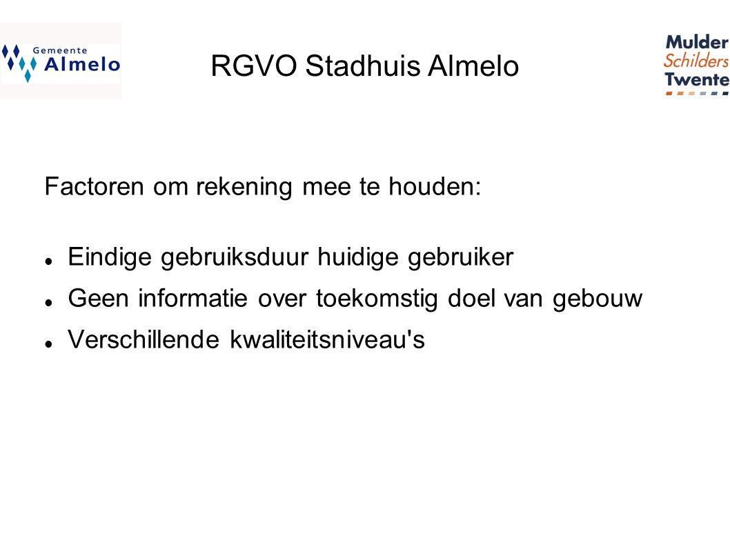 RGVO Stadhuis Almelo Factoren om rekening mee te houden:  Eindige gebruiksduur huidige gebruiker  Geen informatie over toekomstig doel van gebouw  Verschillende kwaliteitsniveau s