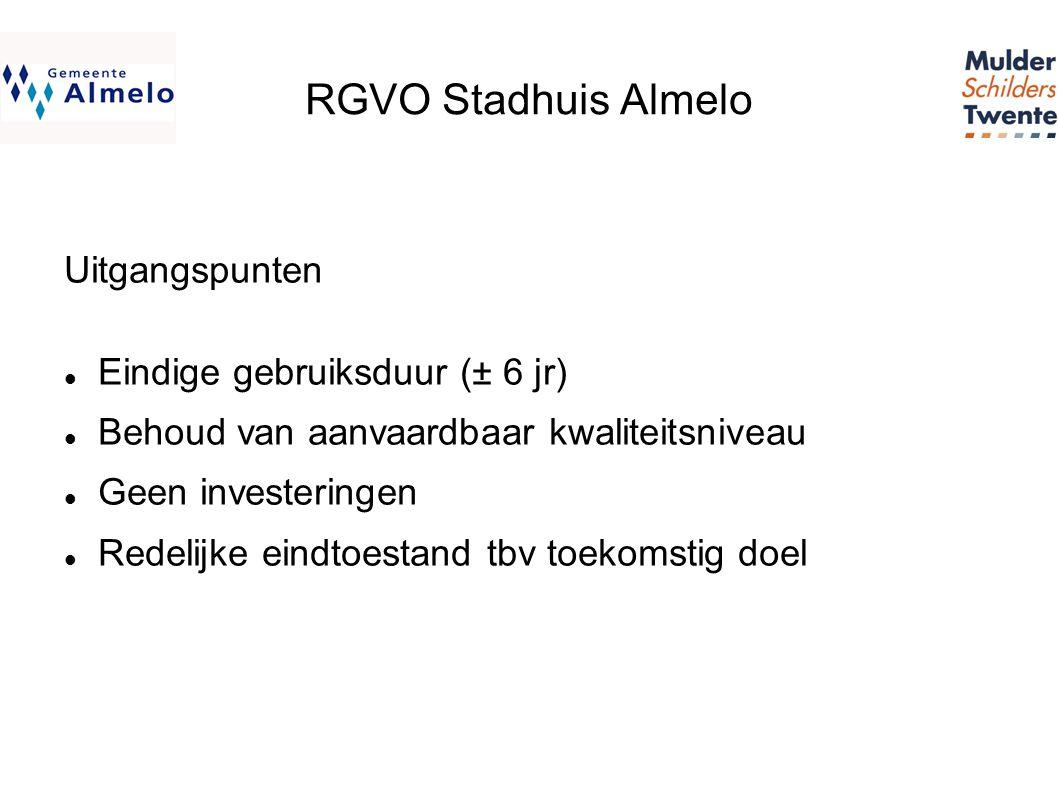 RGVO Stadhuis Almelo Uitgangspunten  Eindige gebruiksduur (± 6 jr)  Behoud van aanvaardbaar kwaliteitsniveau  Geen investeringen  Redelijke eindtoestand tbv toekomstig doel