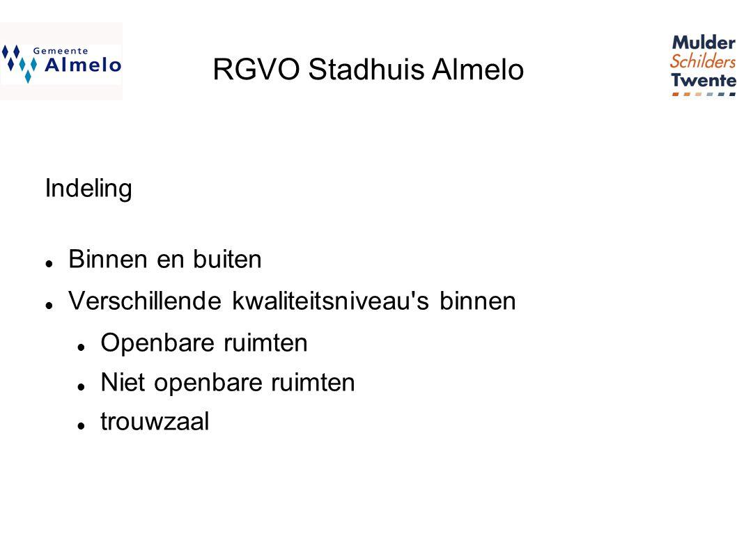 RGVO Stadhuis Almelo Indeling  Binnen en buiten  Verschillende kwaliteitsniveau s binnen  Openbare ruimten  Niet openbare ruimten  trouwzaal