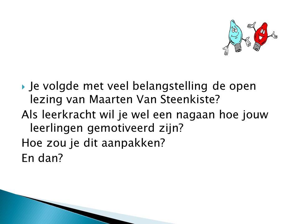 Je volgde met veel belangstelling de open lezing van Maarten Van Steenkiste.
