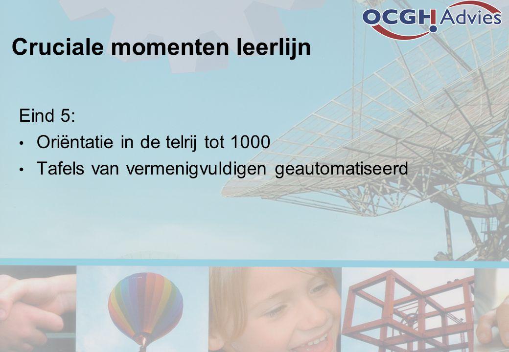 Cruciale momenten leerlijn Eind 5: • Oriëntatie in de telrij tot 1000 • Tafels van vermenigvuldigen geautomatiseerd