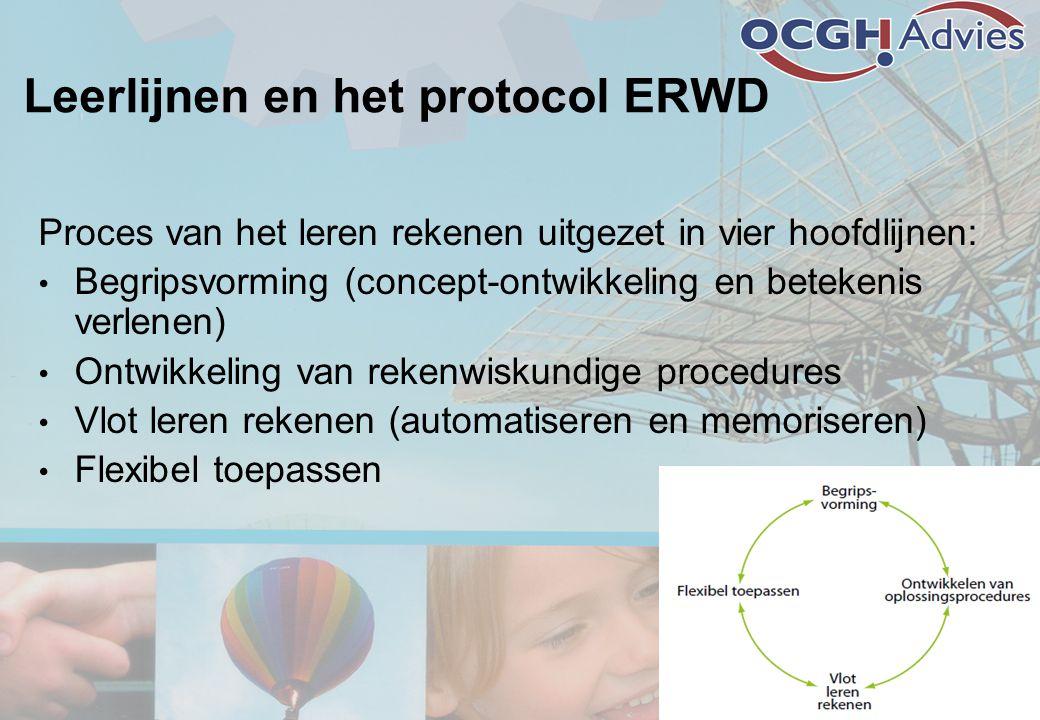 Leerlijnen en het protocol ERWD Proces van het leren rekenen uitgezet in vier hoofdlijnen: • Begripsvorming (concept-ontwikkeling en betekenis verlene
