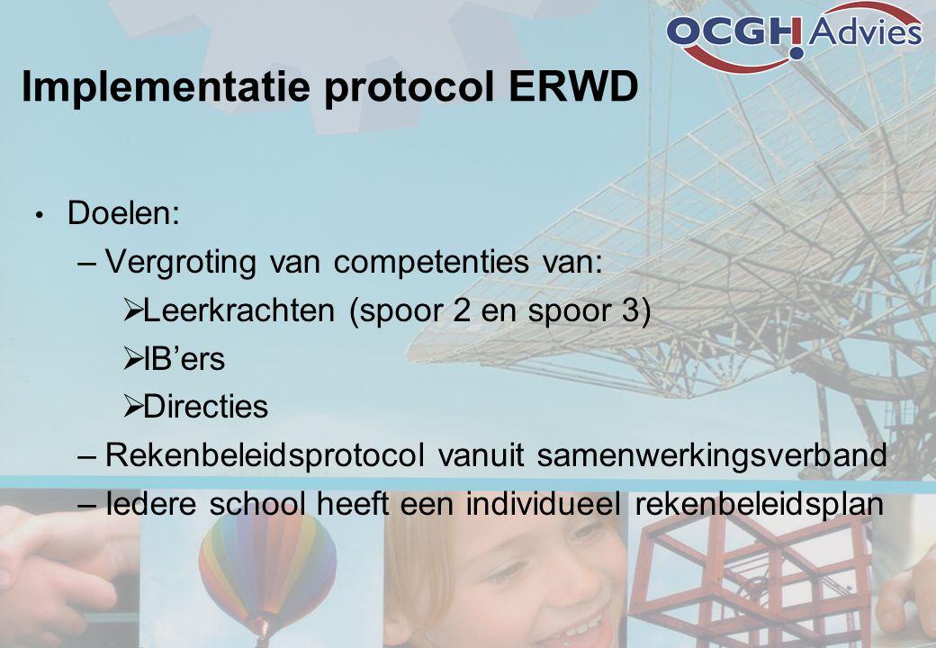 Implementatie protocol ERWD • Doelen: –Vergroting van competenties van:  Leerkrachten (spoor 2 en spoor 3)  IB'ers  Directies –Rekenbeleidsprotocol