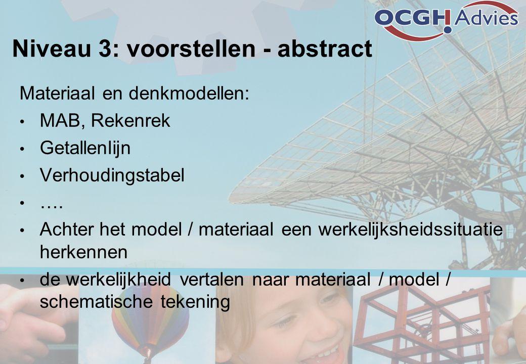 Niveau 3: voorstellen - abstract Materiaal en denkmodellen: • MAB, Rekenrek • Getallenlijn • Verhoudingstabel • …. • Achter het model / materiaal een