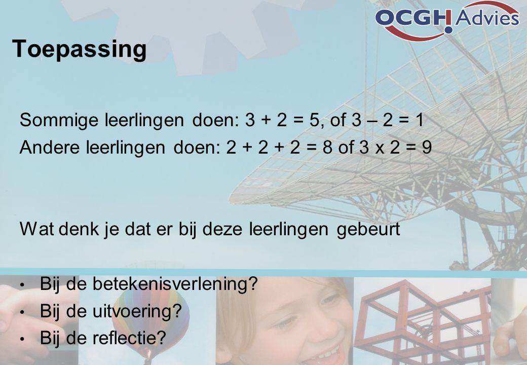 Toepassing Sommige leerlingen doen: 3 + 2 = 5, of 3 – 2 = 1 Andere leerlingen doen: 2 + 2 + 2 = 8 of 3 x 2 = 9 Wat denk je dat er bij deze leerlingen gebeurt • Bij de betekenisverlening.