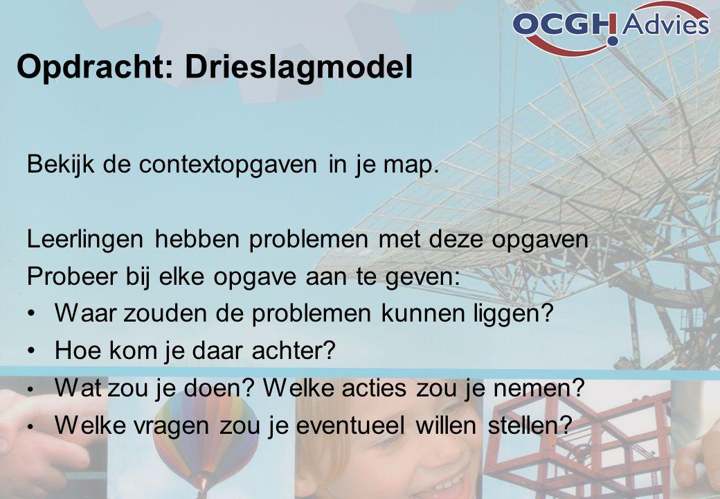 Opdracht: Drieslagmodel Bekijk de contextopgaven in je map.
