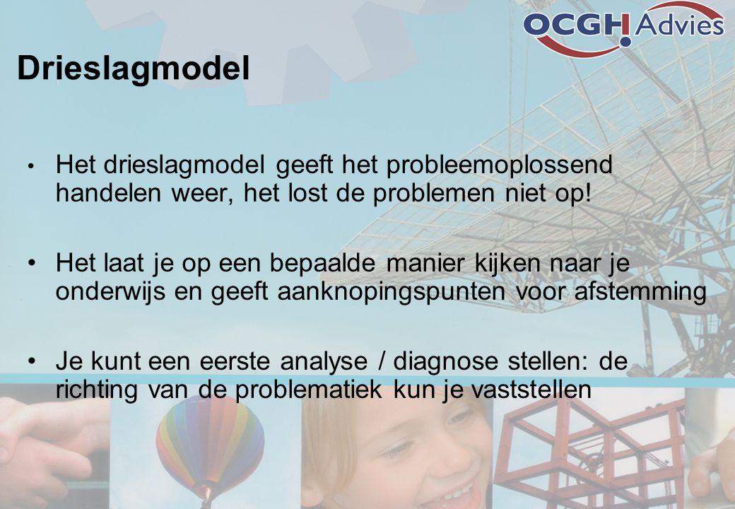 Drieslagmodel • Het drieslagmodel geeft het probleemoplossend handelen weer, het lost de problemen niet op! •Het laat je op een bepaalde manier kijken