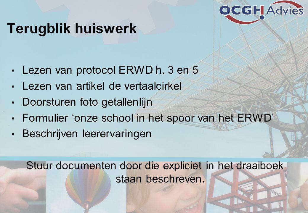 Terugblik huiswerk • Lezen van protocol ERWD h. 3 en 5 • Lezen van artikel de vertaalcirkel • Doorsturen foto getallenlijn • Formulier 'onze school in