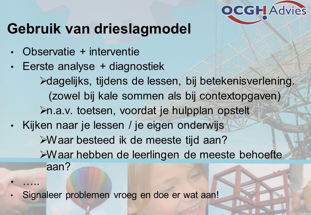 Gebruik van drieslagmodel • Observatie + interventie • Eerste analyse + diagnostiek  dagelijks, tijdens de lessen, bij betekenisverlening. (zowel bij