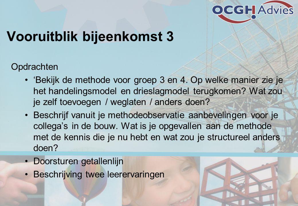 Vooruitblik bijeenkomst 3 Opdrachten •'Bekijk de methode voor groep 3 en 4. Op welke manier zie je het handelingsmodel en drieslagmodel terugkomen? Wa