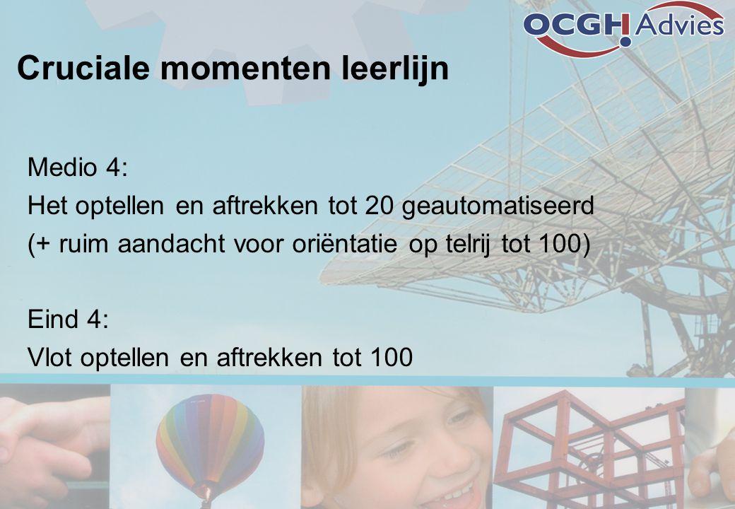 Cruciale momenten leerlijn Medio 4: Het optellen en aftrekken tot 20 geautomatiseerd (+ ruim aandacht voor oriëntatie op telrij tot 100) Eind 4: Vlot optellen en aftrekken tot 100