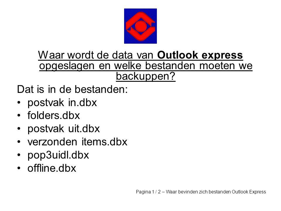 Waar wordt de data van Outlook express opgeslagen en welke bestanden moeten we backuppen? Dat is in de bestanden: •postvak in.dbx •folders.dbx •postva